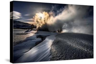 Steaming Boreholes at the Bjarnarflag Geothermal Power Plant in the Winter, Iceland-Ragnar Th Sigurdsson-Stretched Canvas Print