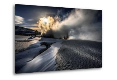 Steaming Boreholes at the Bjarnarflag Geothermal Power Plant in the Winter, Iceland-Ragnar Th Sigurdsson-Metal Print