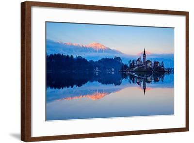 Slovenia, Bled, Lake Bled and Julian Alps, Church of the Assumption-Tuul And Bruno Morandi-Framed Photographic Print