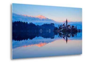 Slovenia, Bled, Lake Bled and Julian Alps, Church of the Assumption-Tuul And Bruno Morandi-Metal Print