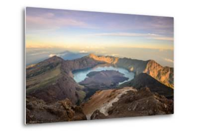 The Mt. Rinjani Crater and a Shadow Cast from the Peak at Sunrise-John Crux-Metal Print