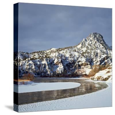 Winter Morning Along the Missouri River Near Hardy, Montana-John Lambing-Stretched Canvas Print