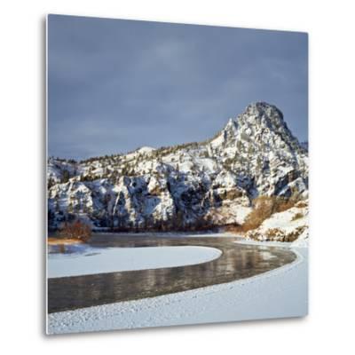 Winter Morning Along the Missouri River Near Hardy, Montana-John Lambing-Metal Print