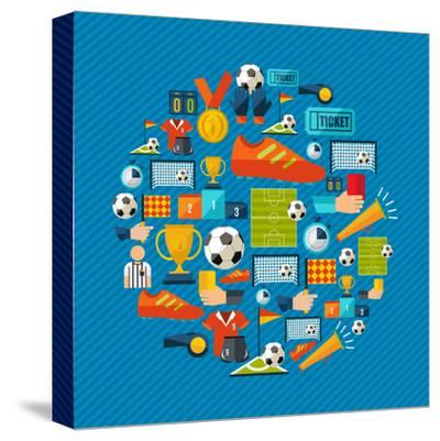 Soccer Champions Icons Set Shape Circle Organized in Layers for Easy Editing-Cienpies Design-Stretched Canvas Print