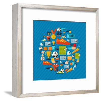 Soccer Champions Icons Set Shape Circle Organized in Layers for Easy Editing-Cienpies Design-Framed Art Print