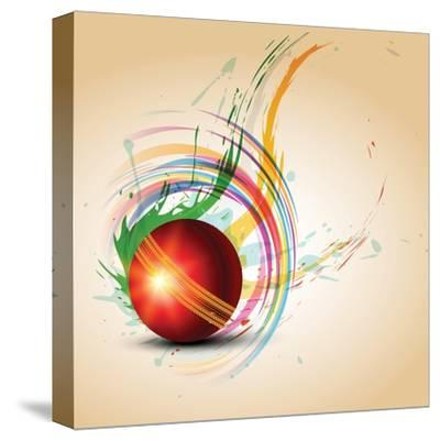 Vector Cricket Ball in Grungy- Pinnacleanimates-Stretched Canvas Print