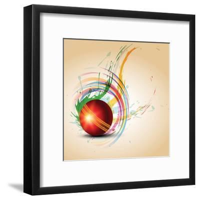 Vector Cricket Ball in Grungy- Pinnacleanimates-Framed Art Print