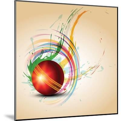 Vector Cricket Ball in Grungy- Pinnacleanimates-Mounted Art Print