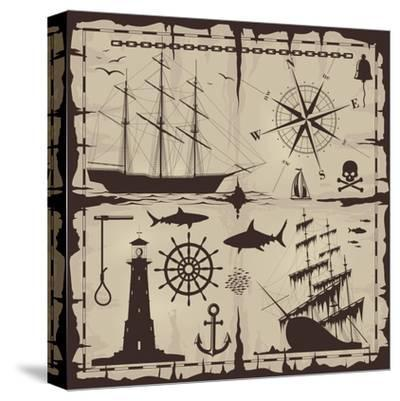 Set of Nautical Design Elements. No Trace. All Images Could Be Easy Modified-Makhnach S-Stretched Canvas Print