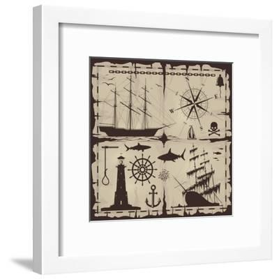 Set of Nautical Design Elements. No Trace. All Images Could Be Easy Modified-Makhnach S-Framed Art Print
