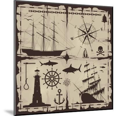 Set of Nautical Design Elements. No Trace. All Images Could Be Easy Modified-Makhnach S-Mounted Art Print