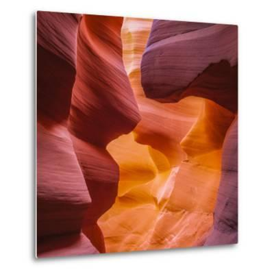 Warm Light Glowing on the Sandstone Walls of Lower Antelope Canyon Near Page, Arizona-John Lambing-Metal Print