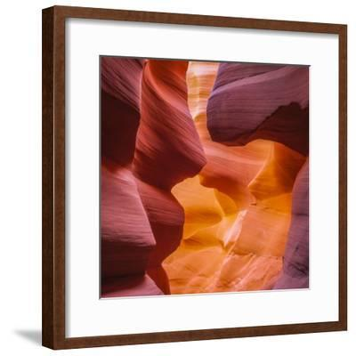 Warm Light Glowing on the Sandstone Walls of Lower Antelope Canyon Near Page, Arizona-John Lambing-Framed Photographic Print