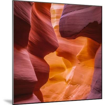 Warm Light Glowing on the Sandstone Walls of Lower Antelope Canyon Near Page, Arizona-John Lambing-Mounted Photographic Print