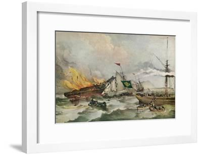 The Burning of the Ocean Monarch, c1848-Francois d'Orleans, Prince de Joinville-Framed Giclee Print