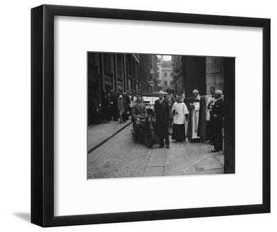 600 cc Douglas motorcycle combination at a motor vehicle blessing ceremony-Bill Brunell-Framed Photographic Print