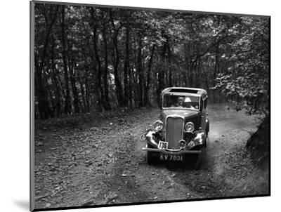 Singer Nine saloon competing in the B&HMC Brighton-Beer Trial, Fingle Bridge Hill, Devon, 1934-Bill Brunell-Mounted Photographic Print