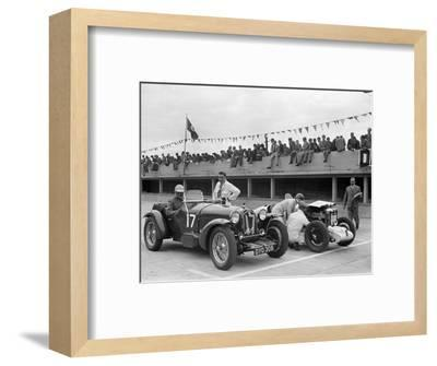 Alfa Romeo and supercharged MG Midget on the start line at Brooklands, 1938 or 1939-Bill Brunell-Framed Photographic Print