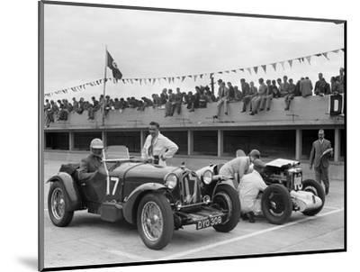 Alfa Romeo and supercharged MG Midget on the start line at Brooklands, 1938 or 1939-Bill Brunell-Mounted Photographic Print