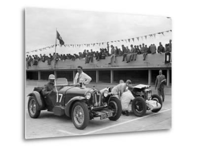 Alfa Romeo and supercharged MG Midget on the start line at Brooklands, 1938 or 1939-Bill Brunell-Metal Print