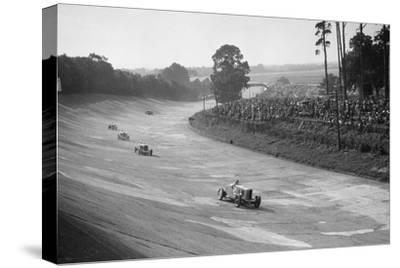 Talbot 90 on the banking at Brooklands, 1930s-Bill Brunell-Stretched Canvas Print
