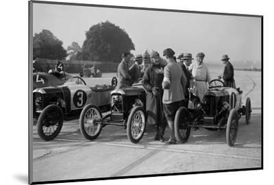 Salmson and two GNs, JCC 200 Mile Race, Brooklands, 1922-Bill Brunell-Mounted Photographic Print