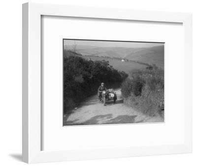 497 cc Ariel and sidecar of R Newman at the MCC Lands End Trial, Beggars Roost, Devon, 1936-Bill Brunell-Framed Photographic Print