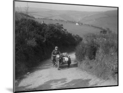 497 cc Ariel and sidecar of R Newman at the MCC Lands End Trial, Beggars Roost, Devon, 1936-Bill Brunell-Mounted Photographic Print