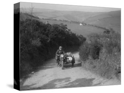 497 cc Ariel and sidecar of R Newman at the MCC Lands End Trial, Beggars Roost, Devon, 1936-Bill Brunell-Stretched Canvas Print