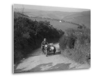 497 cc Ariel and sidecar of R Newman at the MCC Lands End Trial, Beggars Roost, Devon, 1936-Bill Brunell-Metal Print