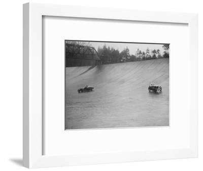 MG M type and Riley 9 Brooklands racing at a BARC meeting, Brooklands, Surrey, 1931-Bill Brunell-Framed Photographic Print