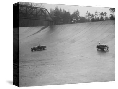 MG M type and Riley 9 Brooklands racing at a BARC meeting, Brooklands, Surrey, 1931-Bill Brunell-Stretched Canvas Print