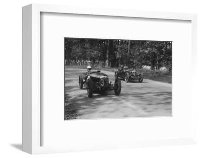 Two Riley Brooklands racing at Donington Park, Leicestershire, 1930s-Bill Brunell-Framed Photographic Print