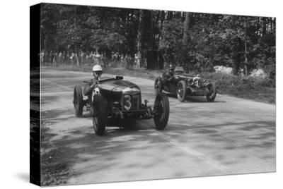 Two Riley Brooklands racing at Donington Park, Leicestershire, 1930s-Bill Brunell-Stretched Canvas Print