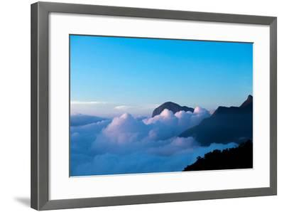 Mountain Peaks Appear Out of Dense Clouds-Prasenjeet Yadav-Framed Photographic Print