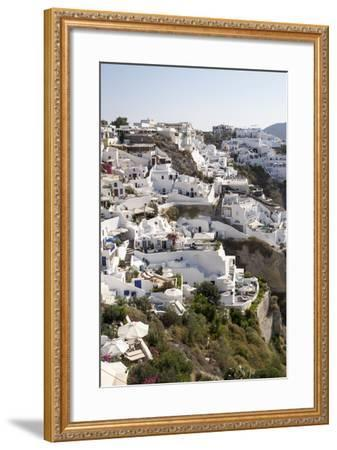 High Angle View of Whitewashed Buildings in Santorini, Greece-Krista Rossow-Framed Photographic Print