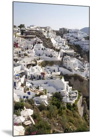 High Angle View of Whitewashed Buildings in Santorini, Greece-Krista Rossow-Mounted Photographic Print