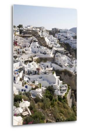 High Angle View of Whitewashed Buildings in Santorini, Greece-Krista Rossow-Metal Print