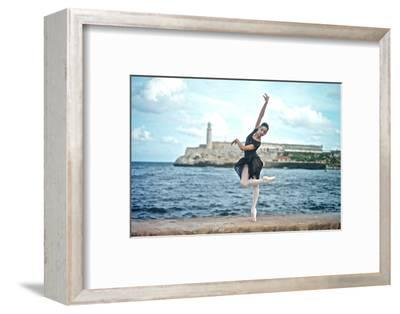 A Classical Ballerina from the Cuba National Ballet at the Malecon-Kike Calvo-Framed Photographic Print