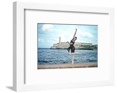 A Classical Ballerina from the Cuba National Ballet at the Malecon-Kike Calvo-Framed Premium Photographic Print