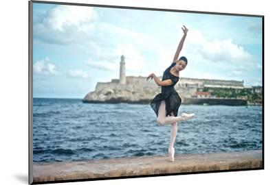 A Classical Ballerina from the Cuba National Ballet at the Malecon-Kike Calvo-Mounted Premium Photographic Print