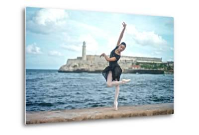 A Classical Ballerina from the Cuba National Ballet at the Malecon-Kike Calvo-Metal Print
