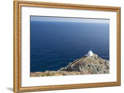 The Blue-Domed Church of the Seven Martyrs Is Located on a Promontory in the Aegean Sea-Krista Rossow-Framed Photographic Print