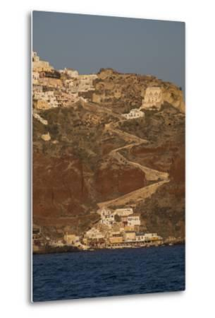 The Town of Oia with its Steep Donkey Path Leading from the Port Up to the Main Town-Krista Rossow-Metal Print