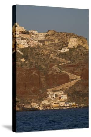 The Town of Oia with its Steep Donkey Path Leading from the Port Up to the Main Town-Krista Rossow-Stretched Canvas Print