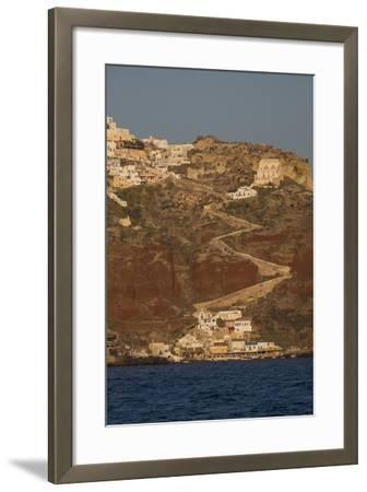 The Town of Oia with its Steep Donkey Path Leading from the Port Up to the Main Town-Krista Rossow-Framed Photographic Print