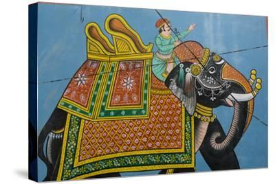 An Outdoor Mural in Jodhpur's Blue City-Steve Winter-Stretched Canvas Print