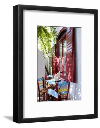 Cat Sitting on the Table Looking Inside a Cafe Window-Krista Rossow-Framed Photographic Print