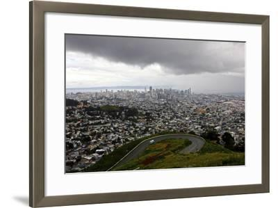 View of a Storm Approaching San Francisco from the Top of Twin Peaks-Jill Schneider-Framed Photographic Print