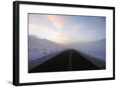 A Bare Roadway Stretches Out into the Misty Frost-Robbie George-Framed Photographic Print